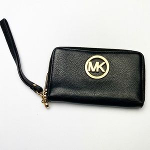 Michael Kors Black Gold Wristlet Wallet